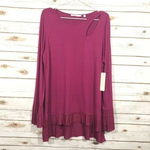 Cyrus Black Raspberry Color Long Sleeve Blouse.